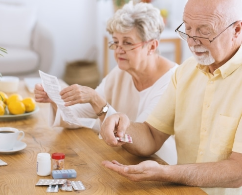 Elderly Couple Taking Diabetes Medication